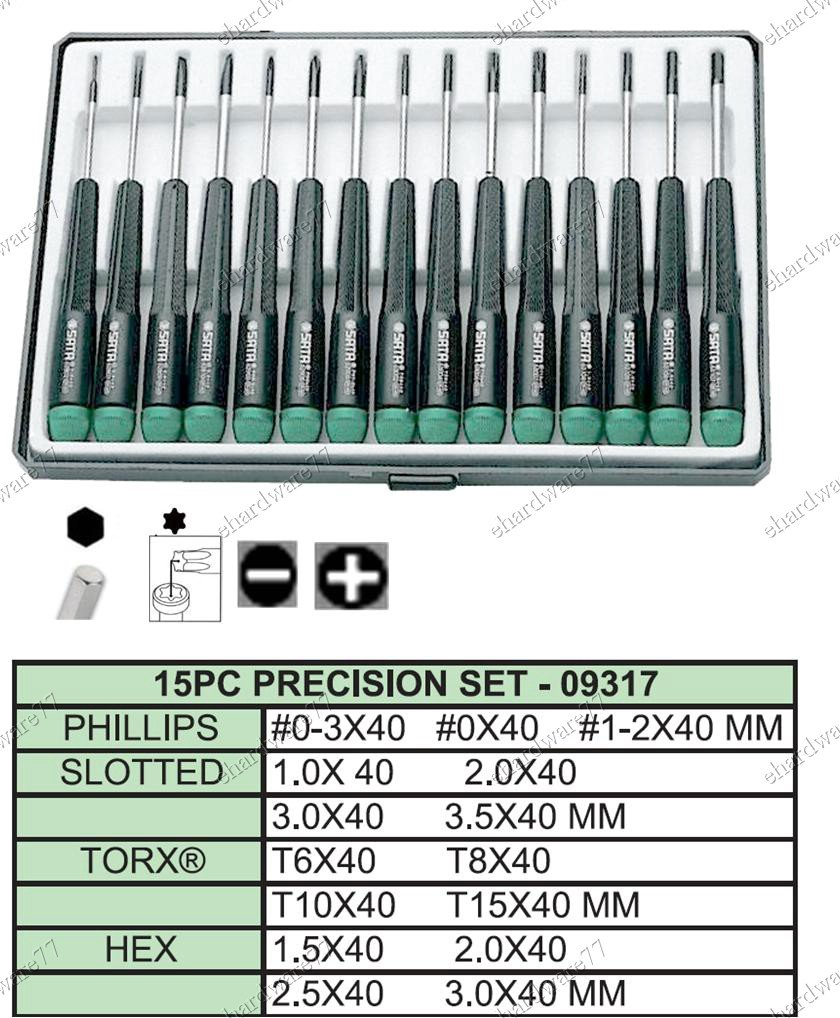 SATA 15pcs Precision Hex, Torx, + - Screwdriver Set (09317)