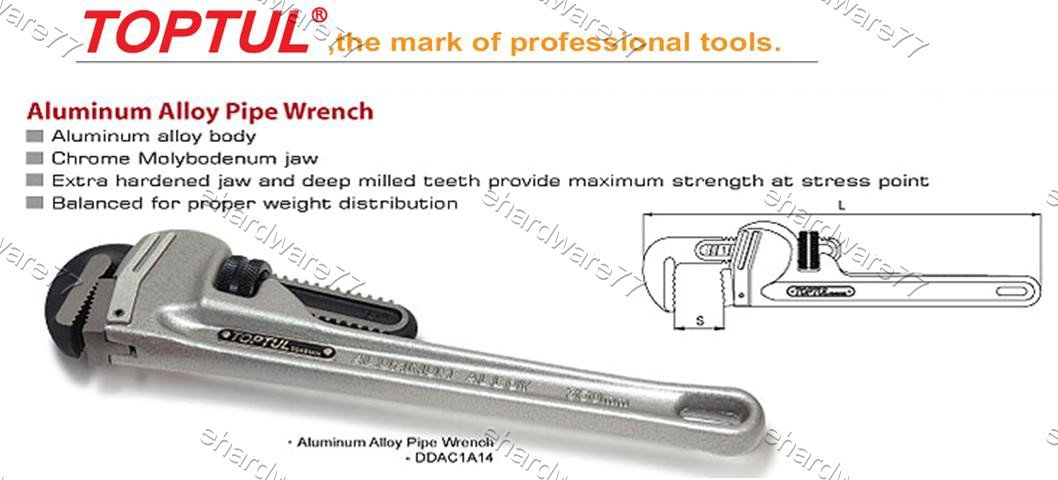 """TOPTUL Lightweight series Aluminum Alloy Pipe Wrench 14"""" (DDAC1A14)"""