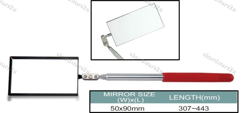 Telescopic Rectangular Inspection Mirror (JJAM0144)