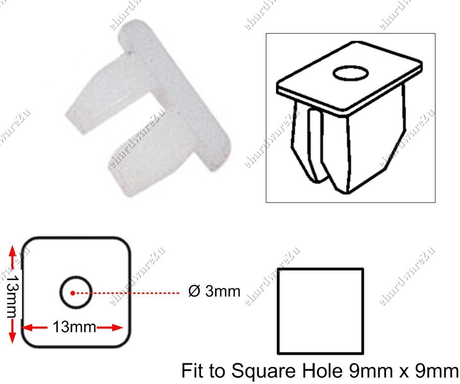"""Headlight And Grill 3/16"""" Base Clips (RD02)"""