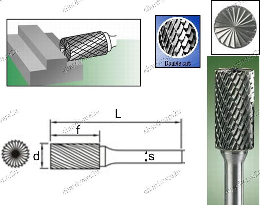 TUNGSTEN CARBBIDE BURRS 3MM Shank 4X12mm (RB0412)