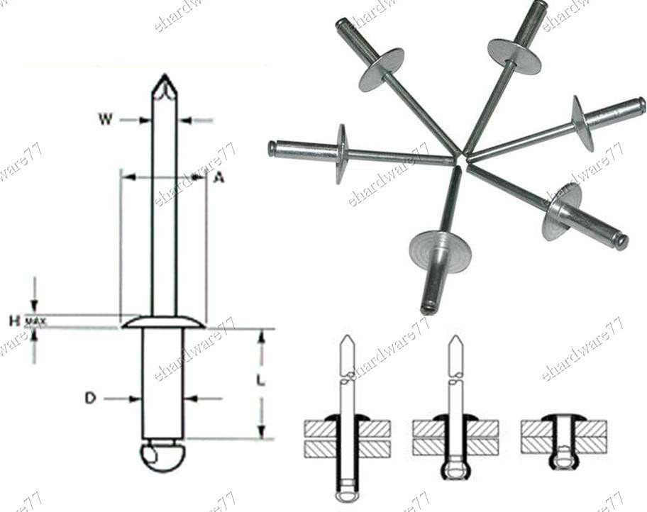 "Aluminium Pop Rivets Large Flange 1/8""x1/4"" (200Pcs/Pack) (706M402)"