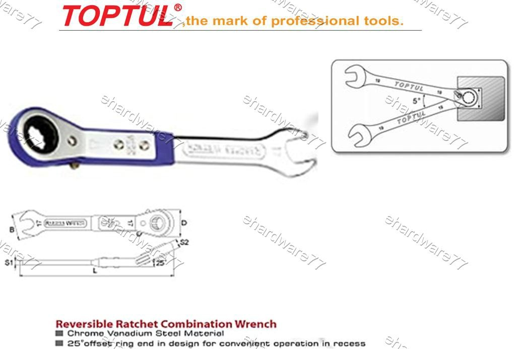 TOPTUL Reversible Ratchet Combination Wrench 17mm (AEAD1717)