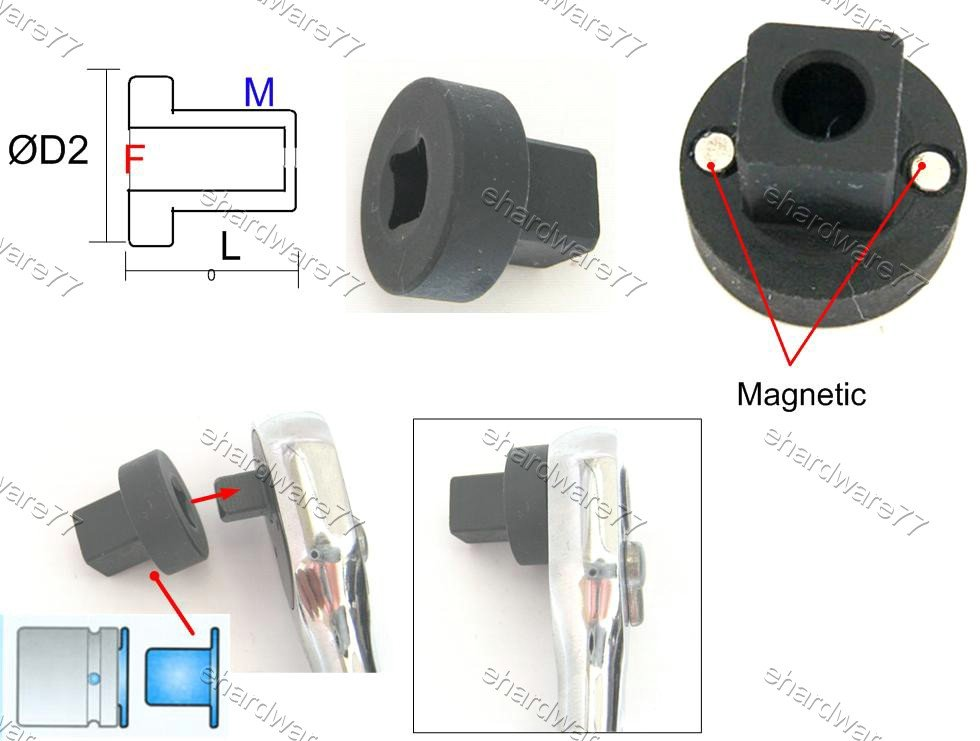 """Sleeve Type Low Profile Impact Square Drive Adapter 3/8""""F X 1/2""""M (69881P16)"""