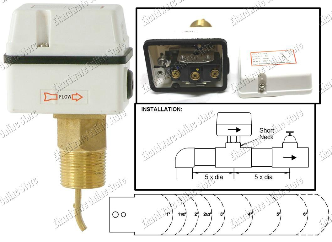 Paddle water flow switch fsf p