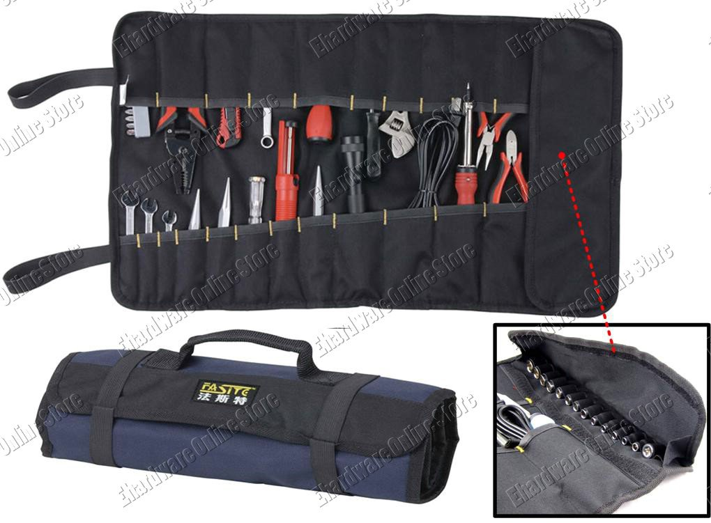 Compact Roll-Up Carry Tool Pouch With 22 Pockets & 15 Holder (Blue) (PT-N028BLU)