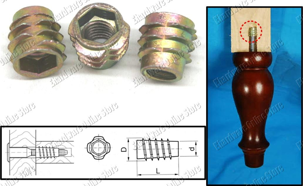 FURNITURE E-NUT INSERT M6X10MM (EWIN6X10)
