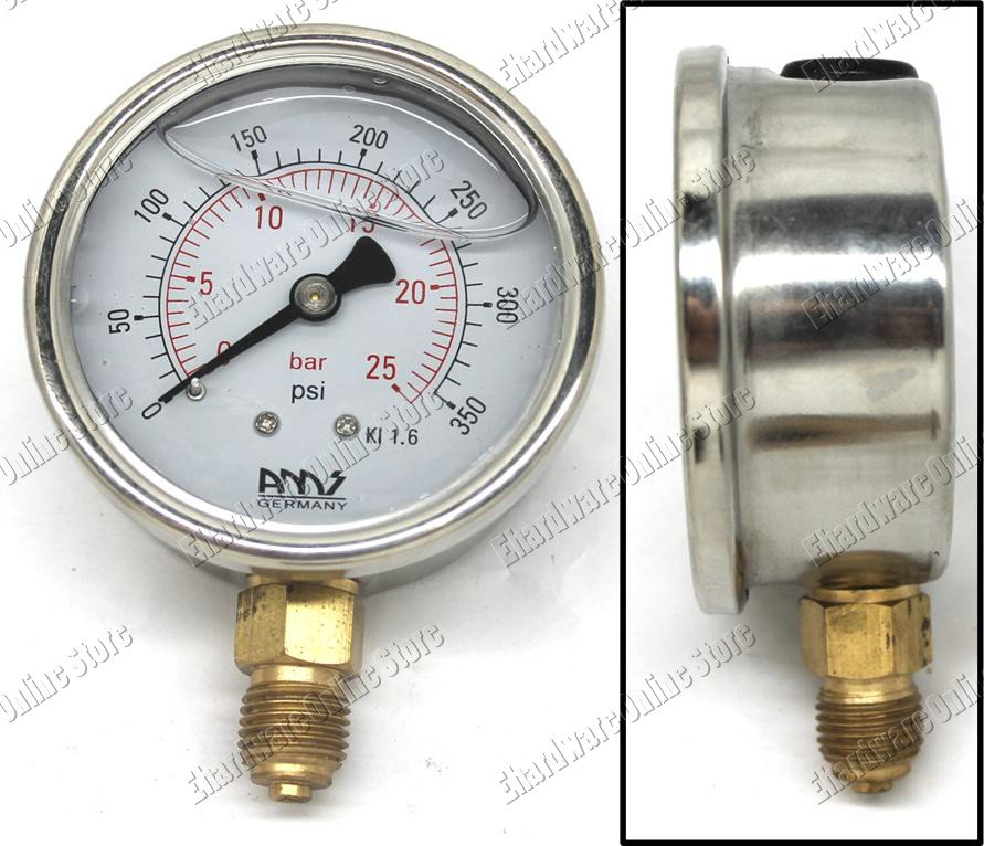 GLYCERINE FILLED PRESSURE GAUGE BOTTOM CONNECTION 100MM 0-40BAR (BL100-40)