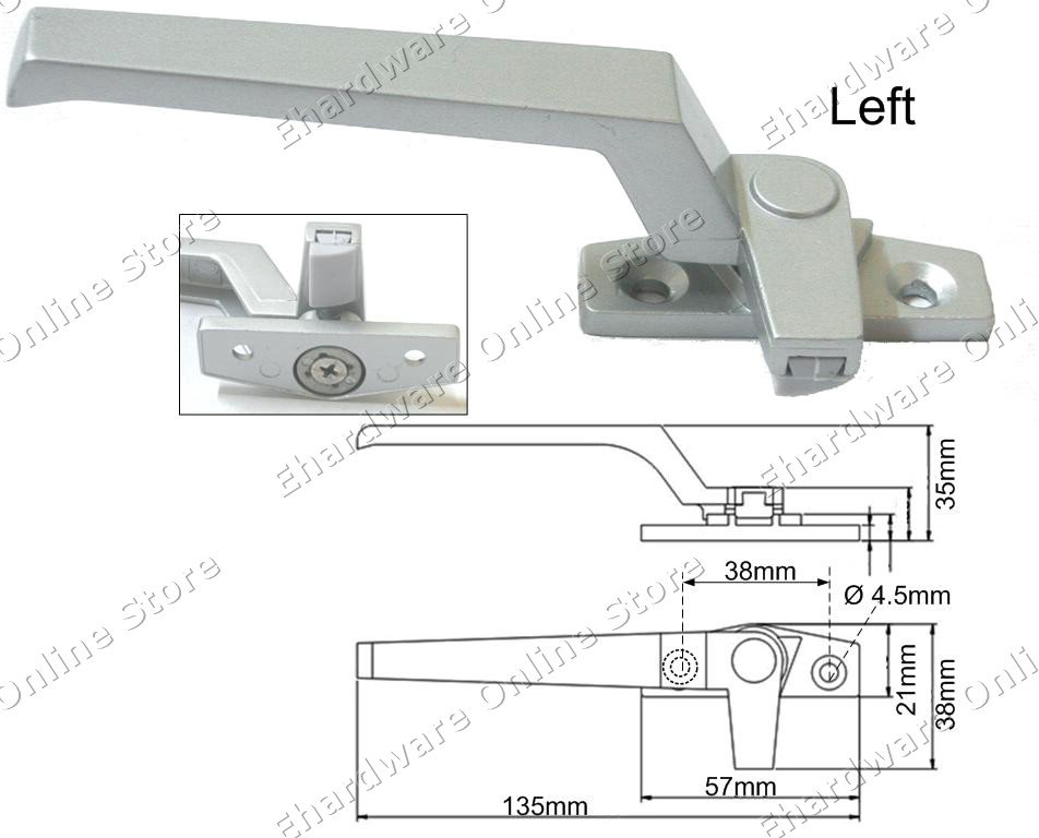 Window Casement Handle Grey 38mm (Left) (WH38SL)