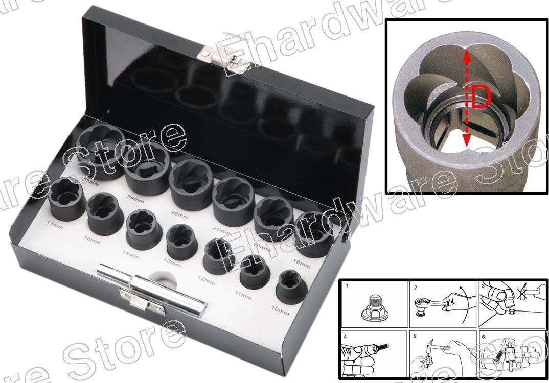 "14Pieces 1/2""DR Twist Socket Set Removes Damaged Screws & Bolts 10-27mm (1321ES)"