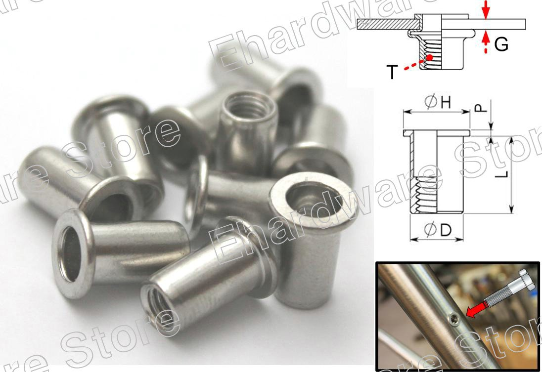 Stainless Steel Open End Flat Head Rivet Nuts M10 (100Pcs) (RN10)