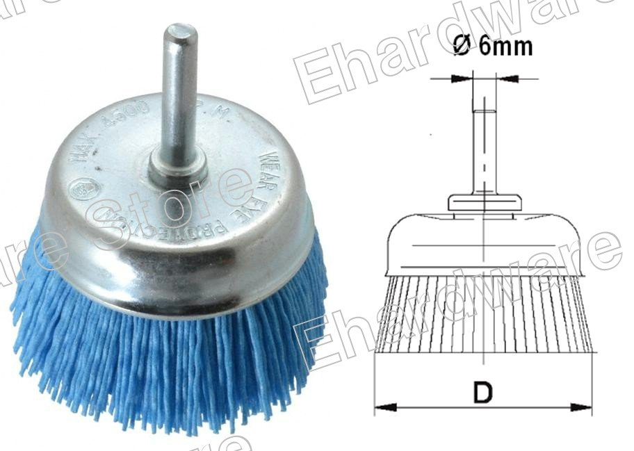 ABRASIVE NYLON BRISTLE CUP BRUSH WITH 6MM SHANK 50MM (HNSCB50)