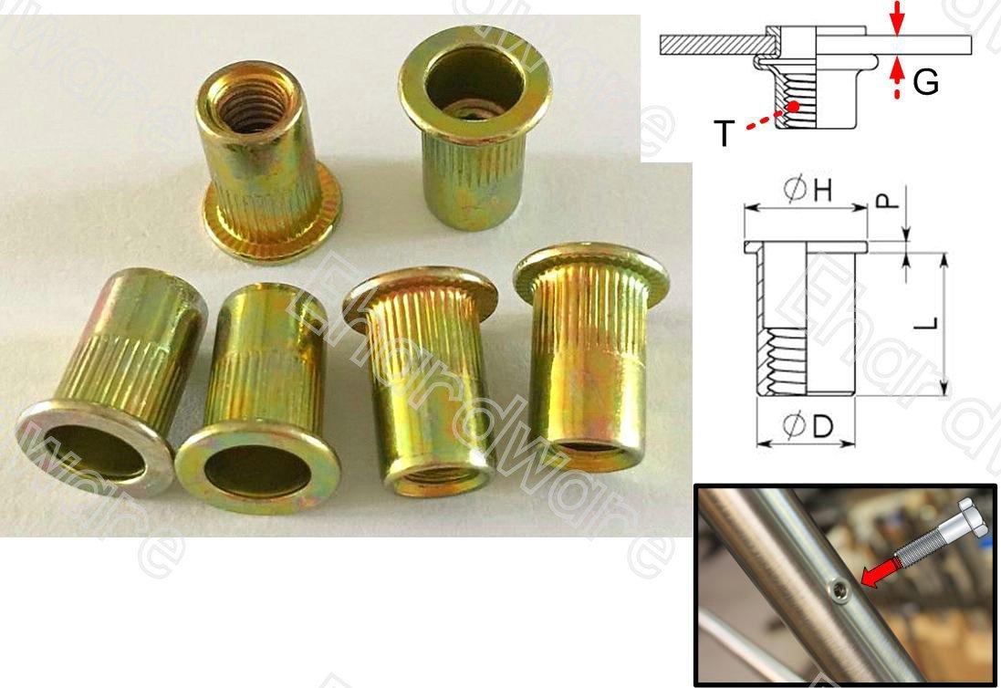 Serrated Body Flange Flat Head Rivet Nuts M4 (BEM4) 100pcs