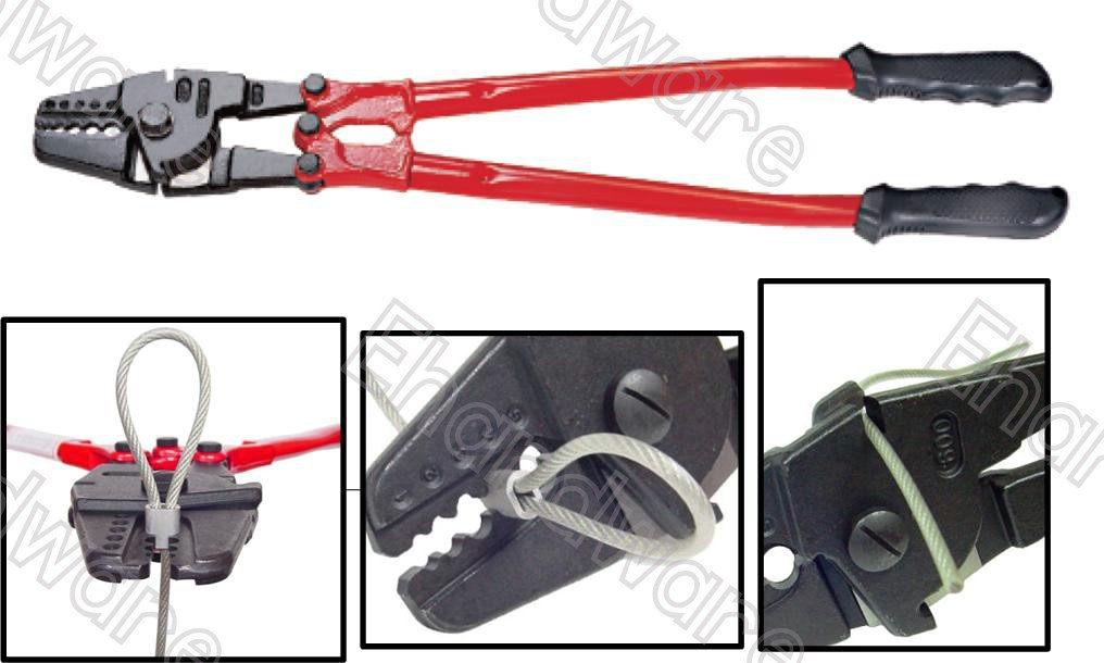 "WIRE ROPE HAND SWAGING TOOL WITH CUTTER 24"" (1/16""-3/16"") (TD1002A24)"