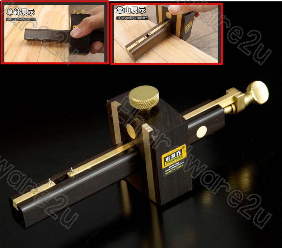 Woodworking Ebony Brass Combination Mortise Marking Gauge (63RP212)