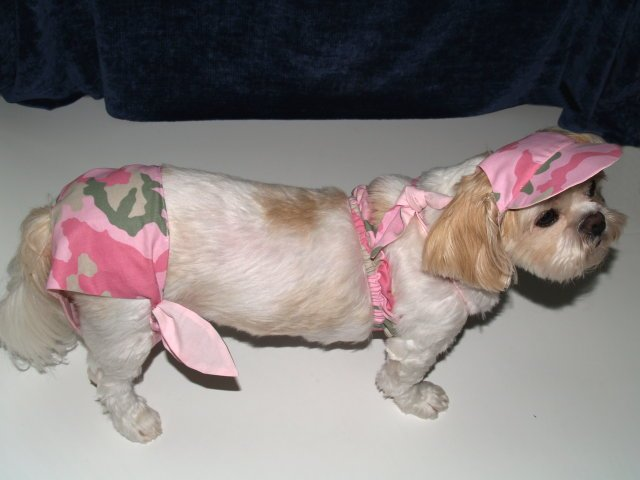 Pink Camo Dog Bikini Swim Suit Bathing Clothes Medium