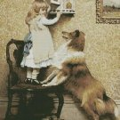 Counted Cross Stitch Kit - A GIRL AND HER SHELTIE - Charles Burton Barber