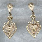 STERLING Silver FILIGREE HEART Drop Earrings