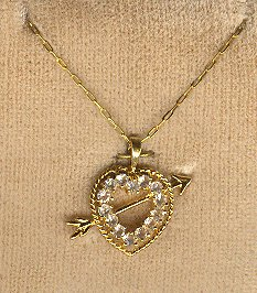 Vintage gold filled RS HEART & Arrow Pendant STERLING *NIP*