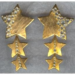 FABULOUS Golden Cascading STARS Earrings -- Rhinestones
