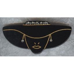 "80s ""Black Hat"" LADY PIN - has Rhinestones - Fun!"