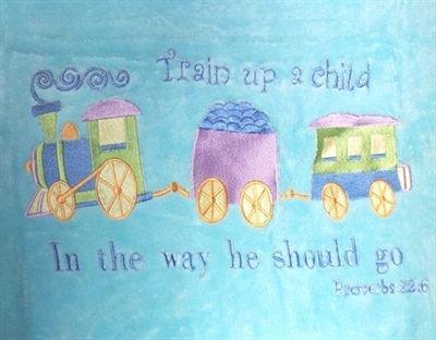 Choo Choo Train Emboidered Baby Blanket