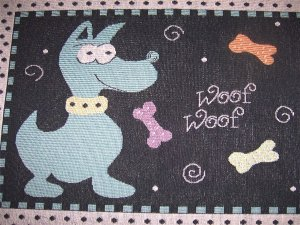 Dog Tapestry  Woof Woof  Throw Rug NEW