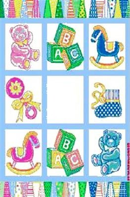 Baby Squares Design Blanket Throw Blocks Rocking Horse