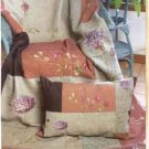 Floral Blocks Luxurious Chenille Throw NEW