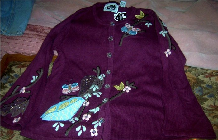 Storybook Knits Sweater Butterflies  Beads NEW