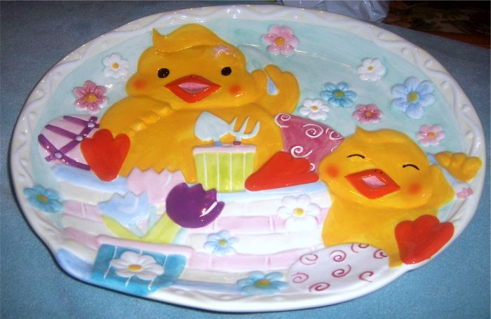 Colorful Baby Chicks Tulips Serving Platter