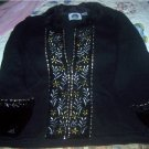 Storybook Knits Black Holiday Sweater 1X Sequins NEW