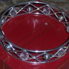 Silver Wire & Crystal Bead Bangle Bracelet