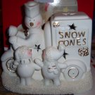 Porcelain Snowman Snow Cone Cart  Light