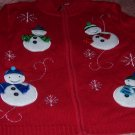 Christmas Snowman Jacket SZ M Petite NEW Red Snowflakes