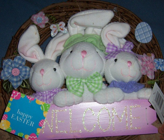 Happy Easter 3 Bunny Welcome Wreath Egg Flowers NEW