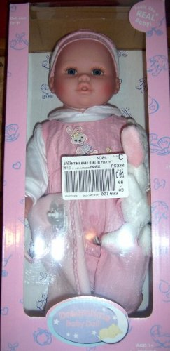 "Dreamtime Baby Doll with Bunny 16"" Girl Doll Pink NEW"