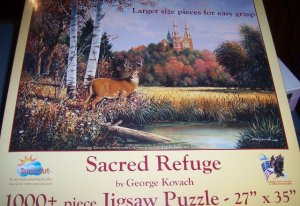 Sacred Refuge Kovach Puzzle Fall Foilage Deer Church