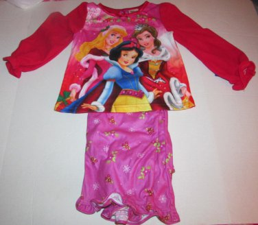 Disney Princess Christmas Pajama Set Snow White Belle Sleeping Beauty SZ 5T