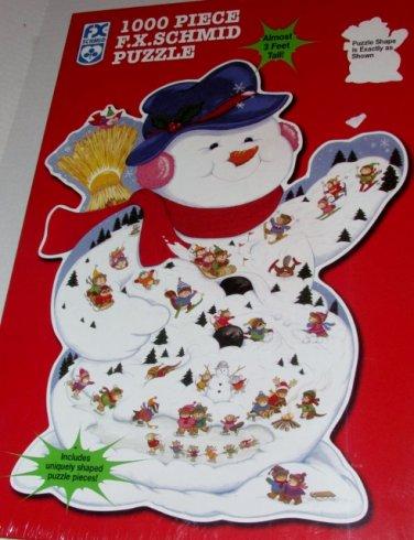 F X Schmid 3 Foot Tall Christmas Scene Snowman Puzzle