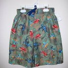 NWT CAMOUFLAUGE SWIM TRUNKS WITH COLORFUL FROGS SIZE 7
