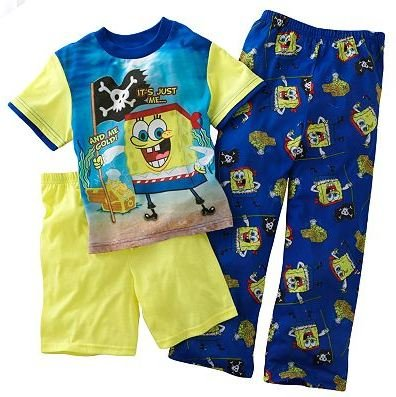 NEW NWT SPONGEBOB SQUAREPANTS 3-PC. PAJAMAS SET SIZE 4