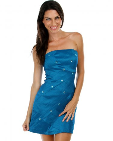 BRAND NEW Teal Metallic Dress w/Rhinestones (L) D1101
