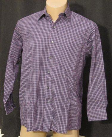 BRAND NEW Club Room Blue/Purple Squares Shirt 16 32/33 #1240