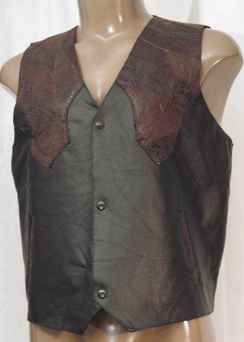 BRAND NEW Men's Leather & Snake Vest (L) #0167