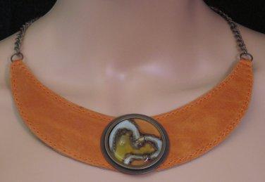 BRAND NEW Handmade Orange Brinza Choker #0580