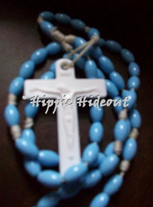 Soft Blue Rosary with White Cross