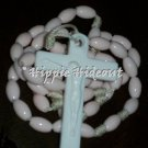 Soft Pink Rosary with White Cross