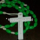 Green Rosary with White Cross