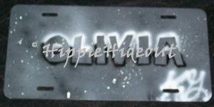 Airbrushed License Plate Personalized Name Carved in Stone